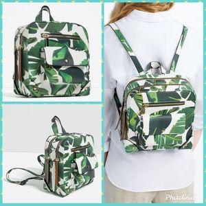 NWT Zara leaf print backpack with gold hardware